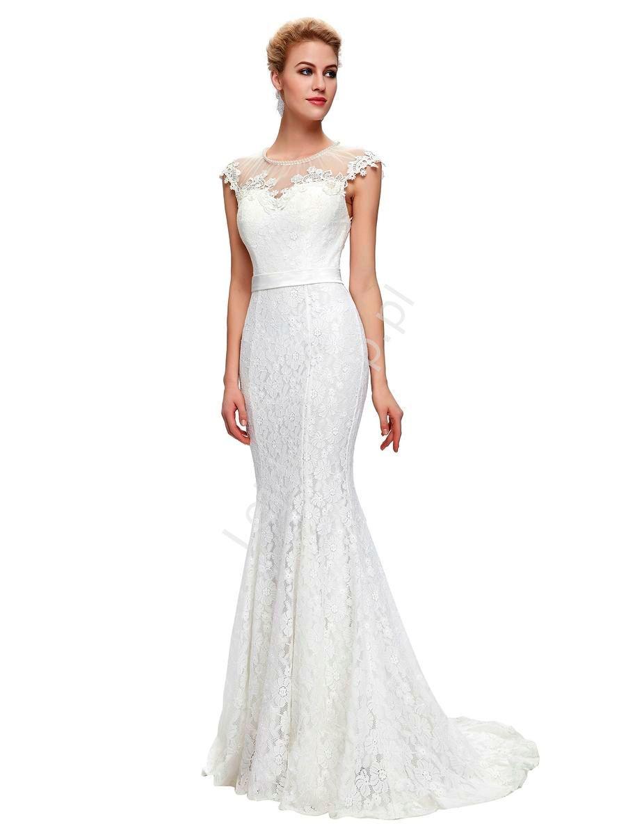 Dluga Biala Suknia Slubna Z Perlami W Stylu Retro Suknia Slubna Vintage Z Perlami I Gipiura Wedding Dresses Lace Mermaid Wedding Dress Dresses