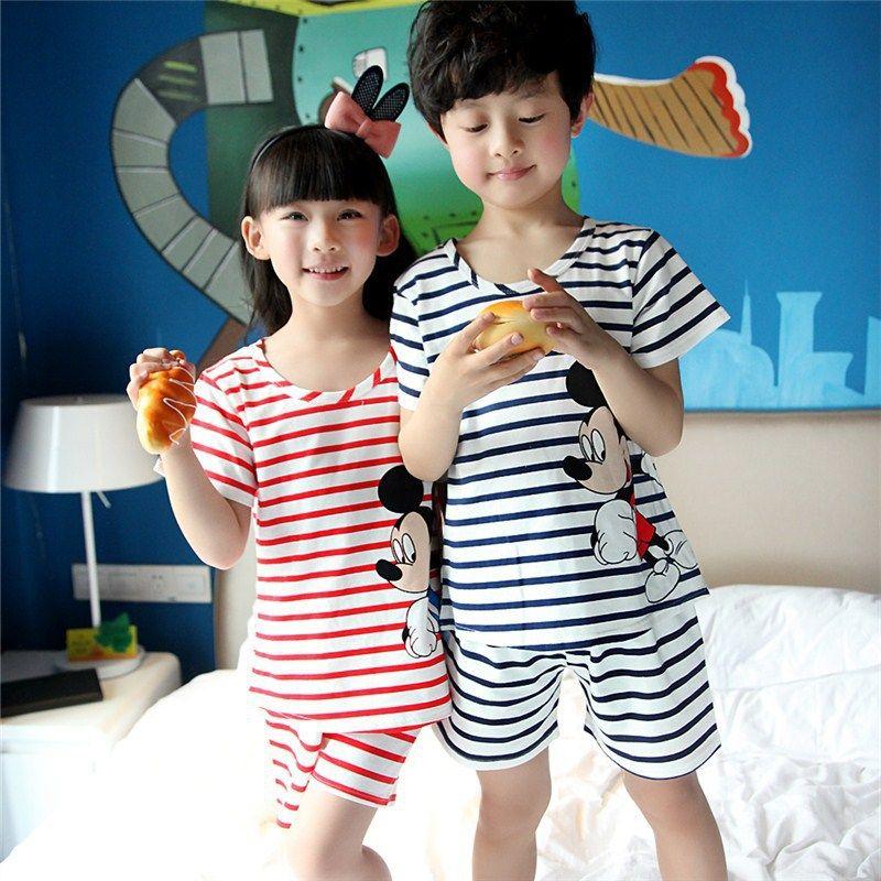 2016 Summer Boy & Girl Sleepwear Character Pattern Striped Kid Underwear Cotton Top & Shorts 2 Pcs Children Pajamas