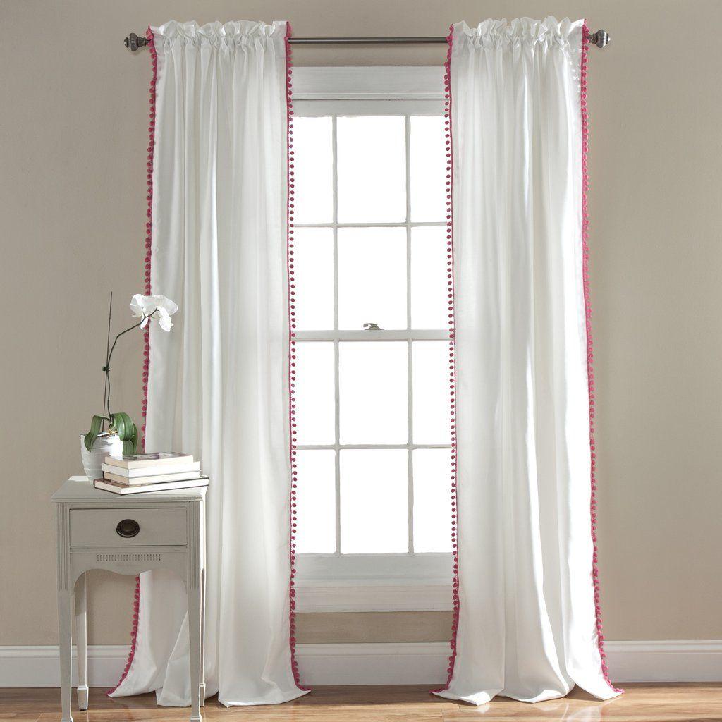 Pom Pom Window Curtain Cortinas De Arpillera Cortinas Decoracion De Unas