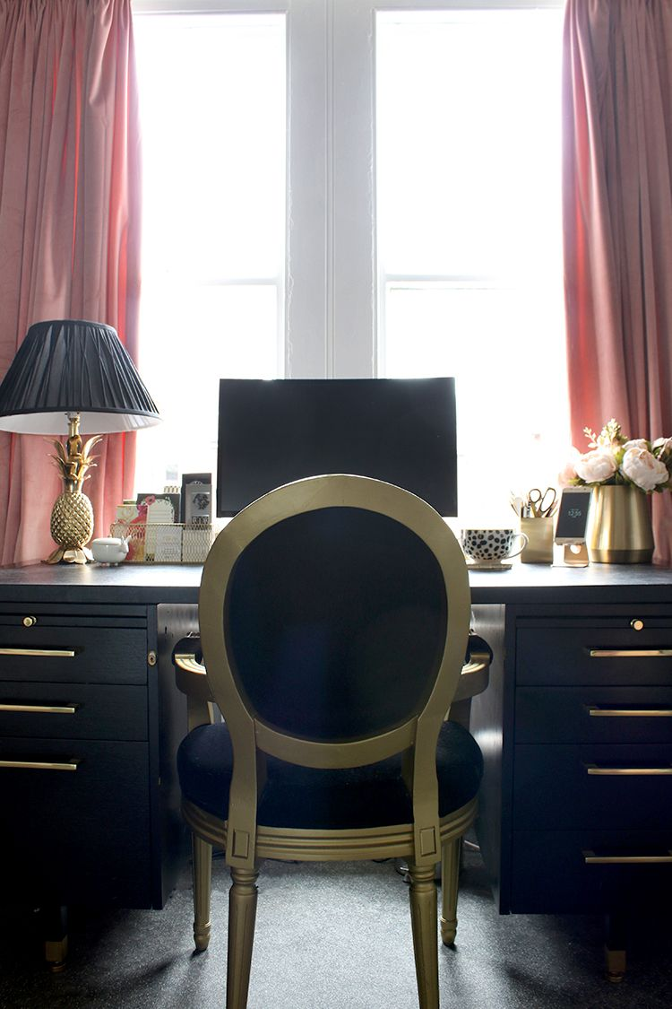 My Combined Office And Dressing Room For Now Black Gold Decor Home Office Accessories Gold Rooms