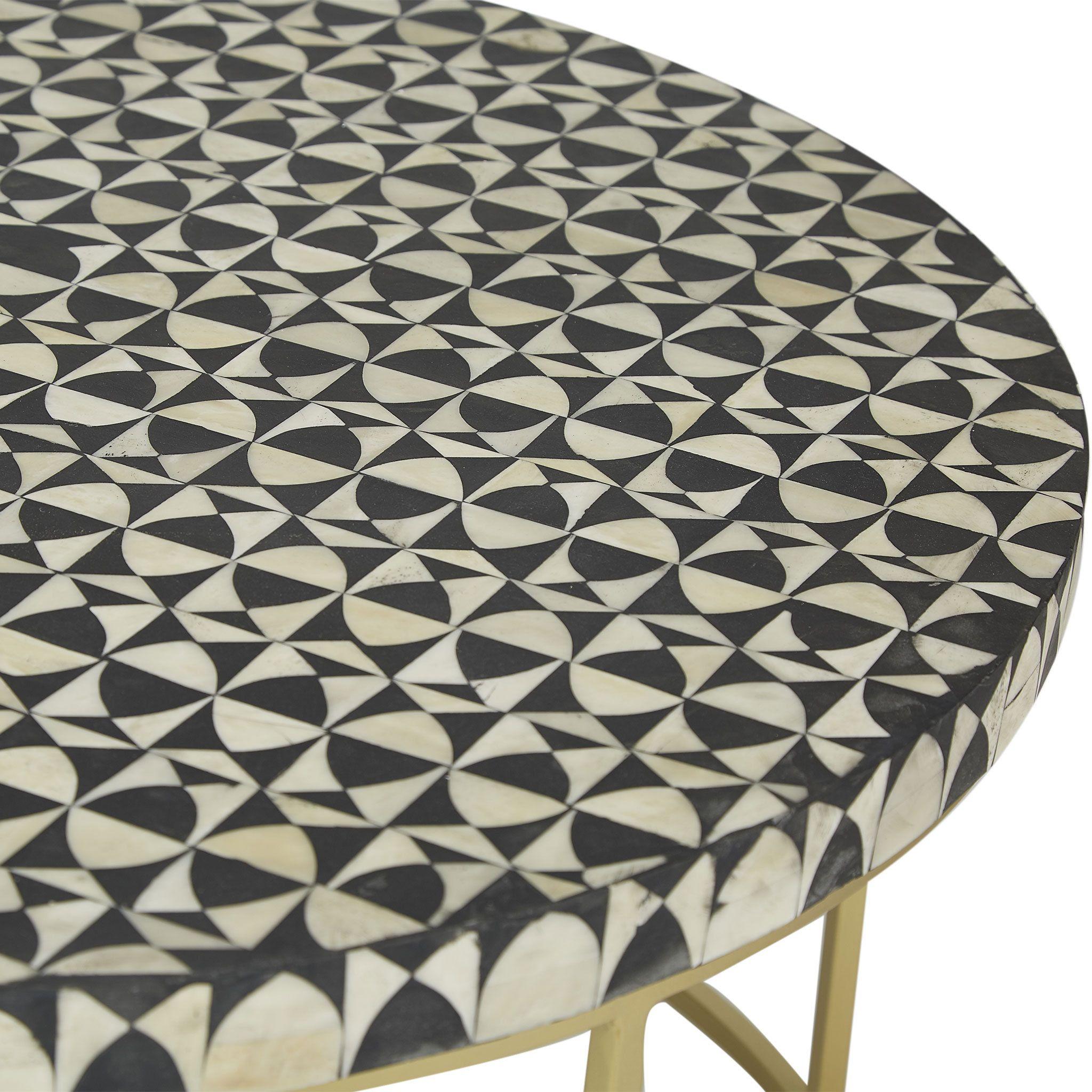 Bone Inlay Round Coffee Table Wine Glass Black / White