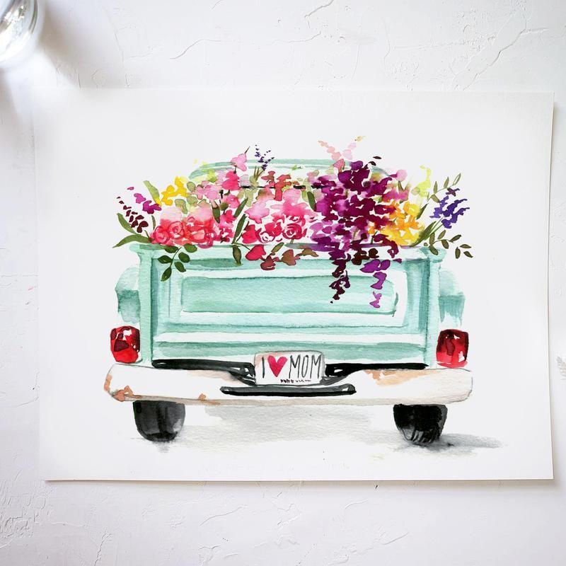 Floral Truck Watercolor Kit In 2020 Watercolor Kit Watercolor