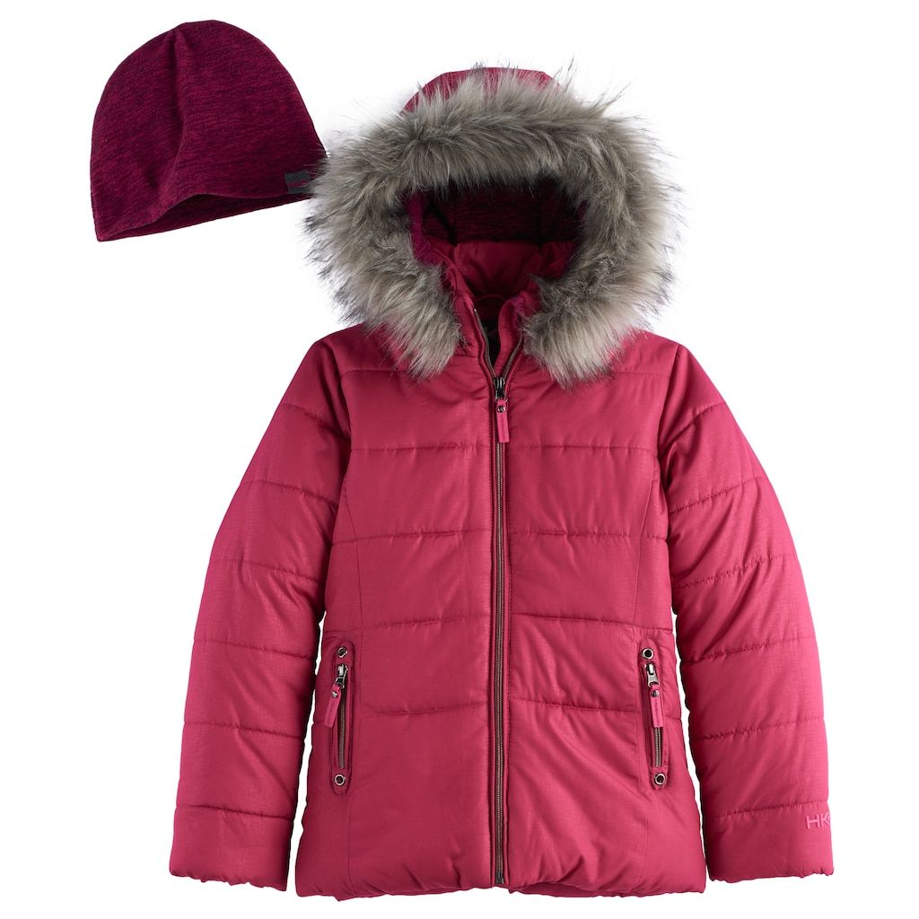 197a7a7fe50 Girls 7-16 Hawke   Co Heavyweight Faux-Fur Trim Quilted Puffer Jacket with  Hat