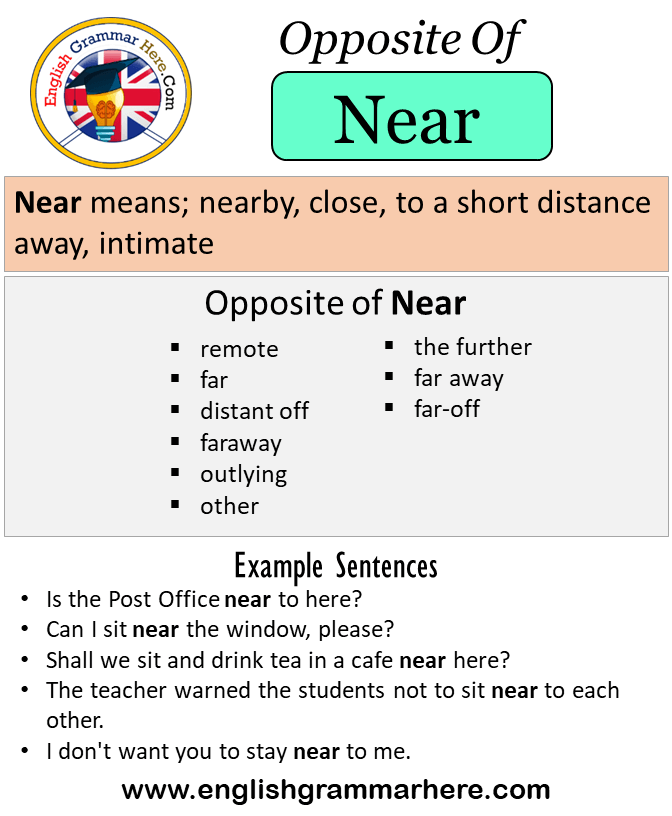 Opposite Of Near Antonyms Of Near Meaning And Example Sentences Antonym Opposite Words Contradict Each Other And In 2021 Learn English Words Opposite Words Antonyms