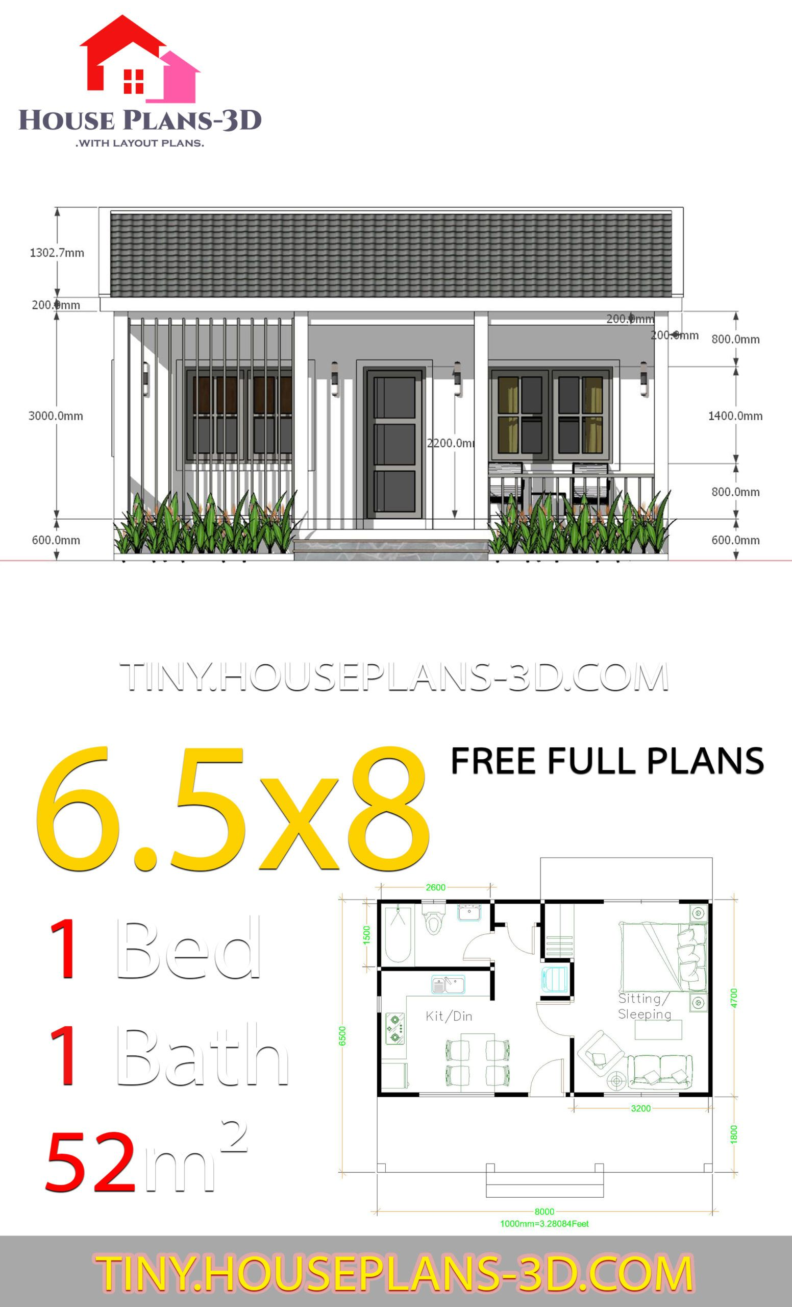 Small House Plans 6 5x8 With One Bedrooms Gable Roof Tiny House Plans House Plans Small House Plans Tiny House Plans