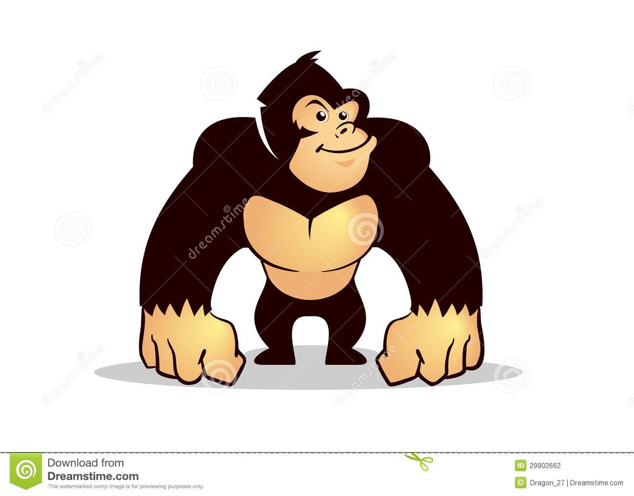 Happy cartoon gorilla