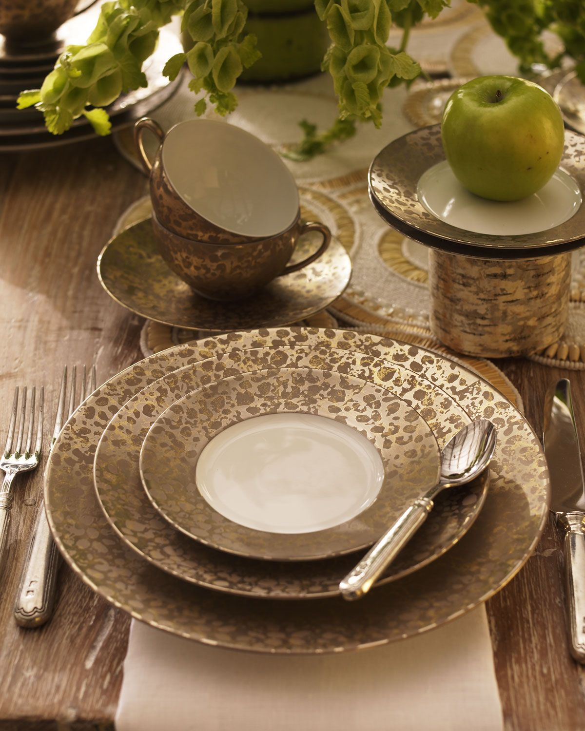 \ Big Bang\  Bronze Dinnerware by Jaune de Chrome at Neiman Marcus. & http://archinetix.com/jaune-de-chrome-big-bang-bronze-dinnerware-p ...