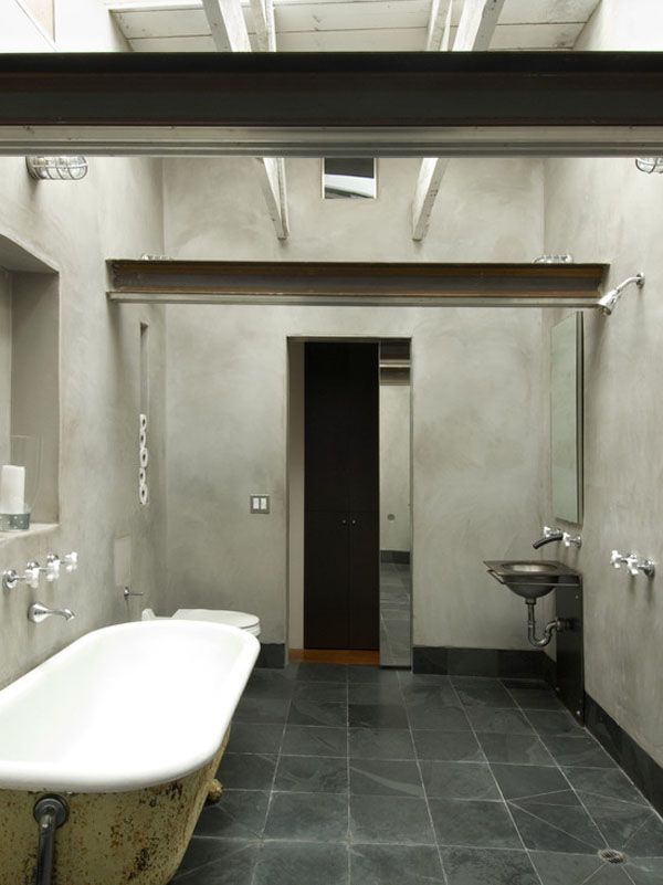 Attirant Love The Concrete Look And The Wall Color. Minimal Bathroom | Rustic Bath |  Industrial