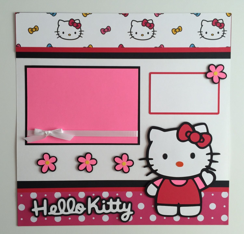 Hello kitty scrapbook ideas - Handmade 12 X12 Premade Hello Kitty Scrapbook Layout Kitty Cat