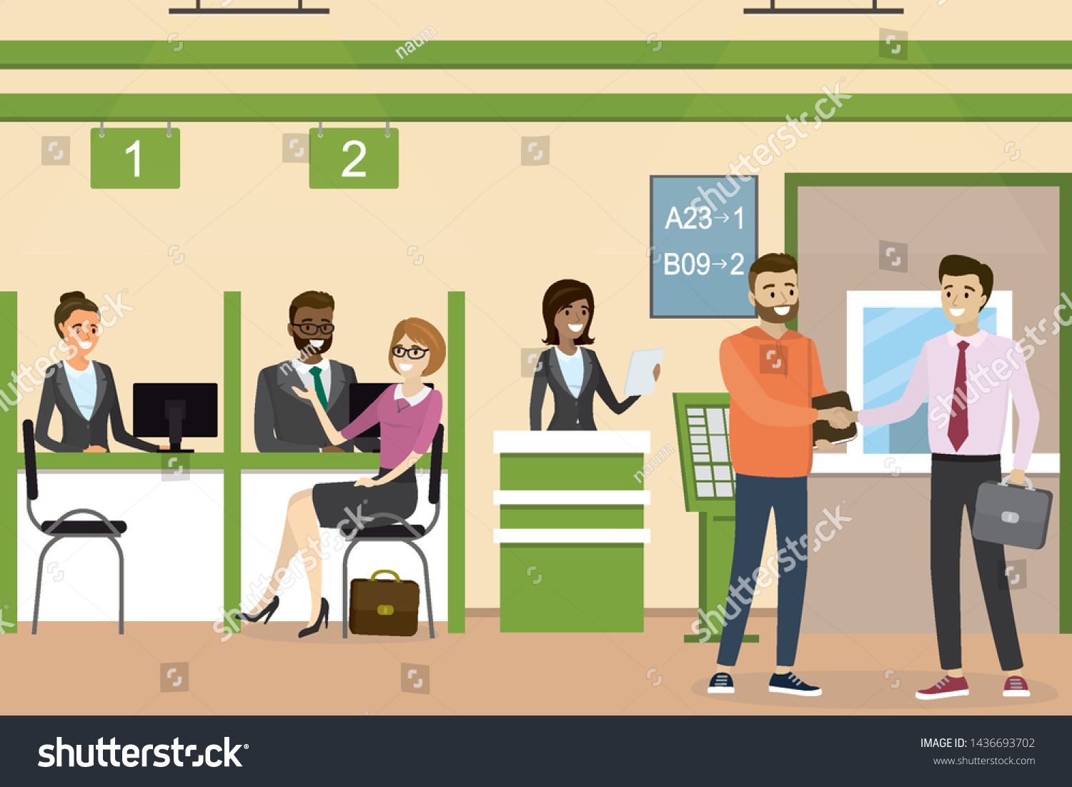 People Inside Bank Office Interior Design Concept With Various Business People Cartoon Bank Ma Graphic Arts Illustration Office Interior Design Illustration