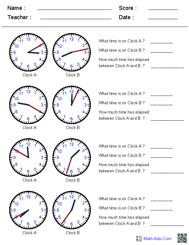 Elapsed Time WorksheetsThis site generates clock times in – Maths Clocks Worksheets