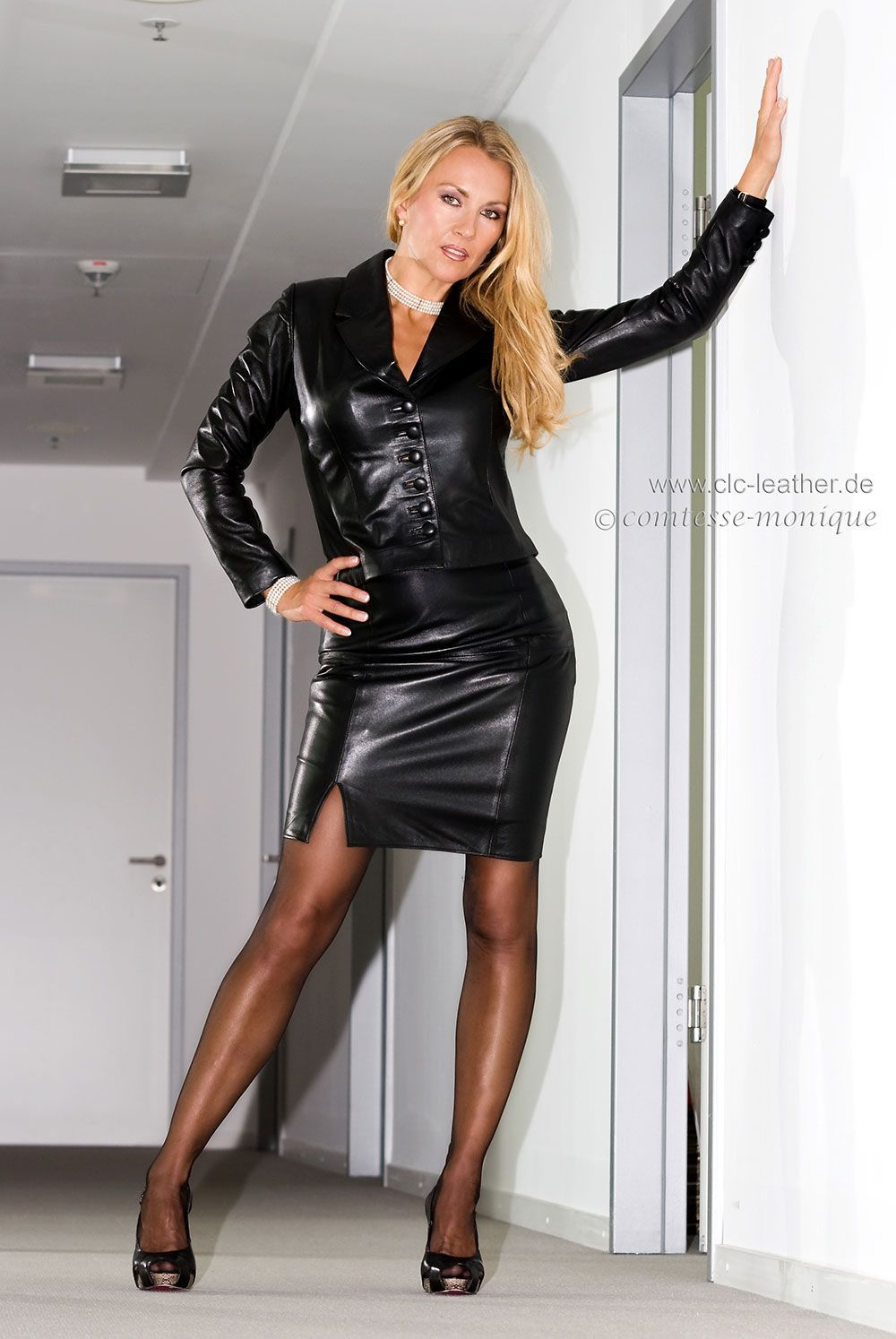 In lady leather mature