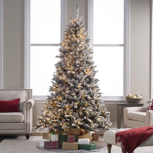 $399.98 7.5 ft. Flocked Blue Ridge Spruce Christmas Tree with ...