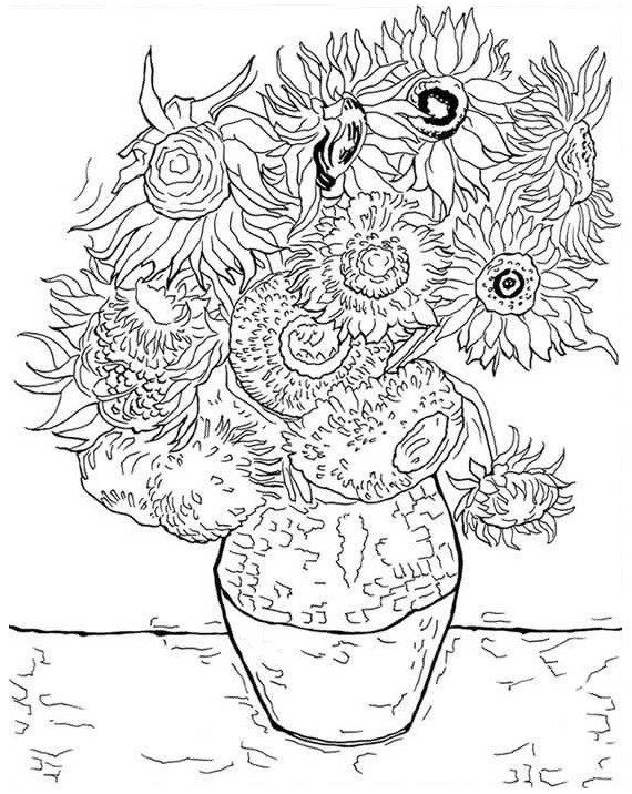 Adult Coloring Pages Sunflowers 78457 Van Gogh Coloring