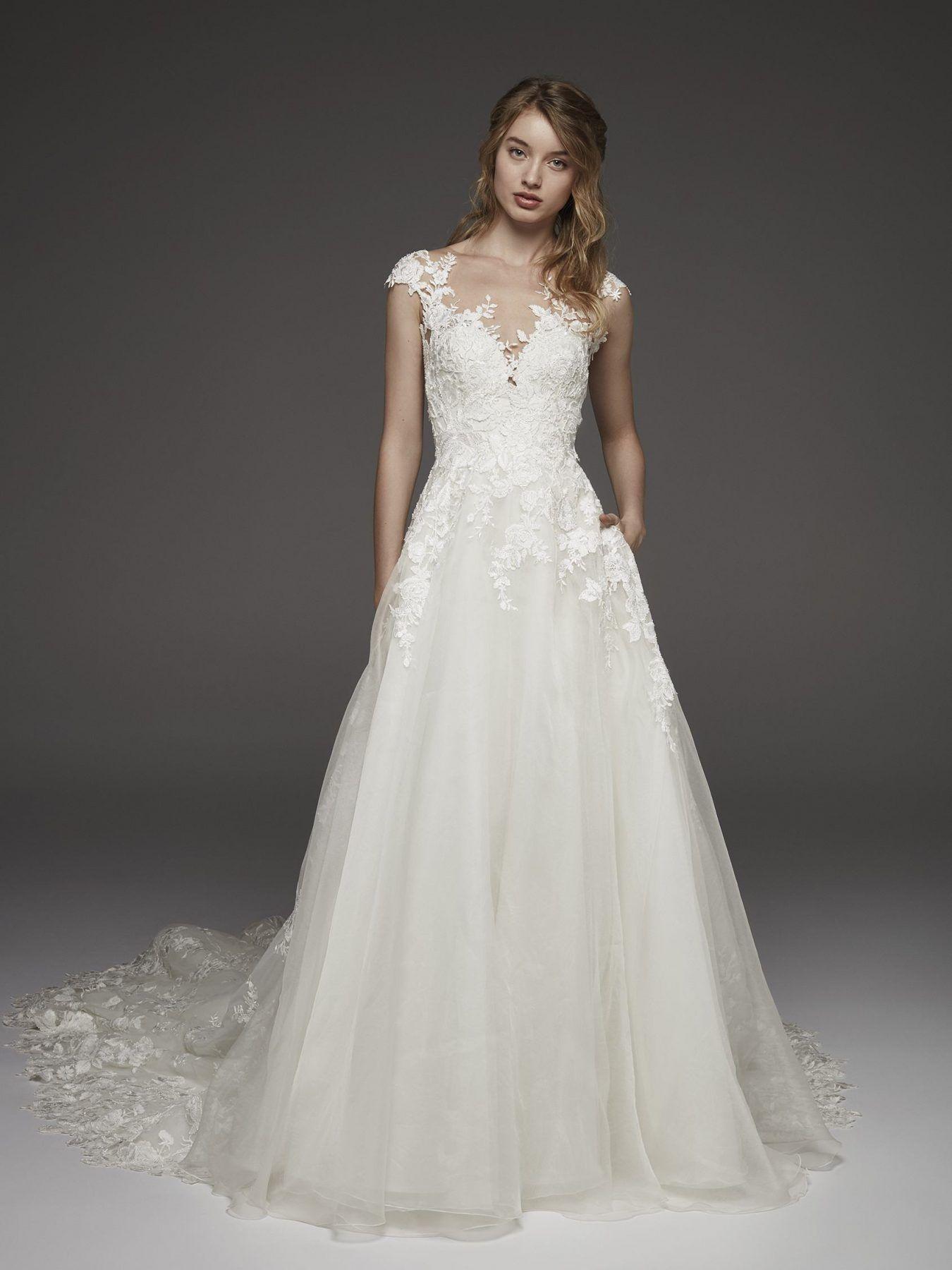 Lace cap sleeve a line wedding dress  Illusion lace cap sleeve Aline wedding dress  Pronovias  Style