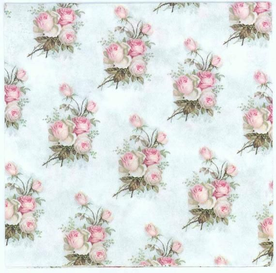 4 Decoupage Napkins | Small Pastel Rose Bouquets | Rose Napkins | Floral Napkins | Wedding Napkins | Lunch Paper Napkins for Decoupage #papernapkins