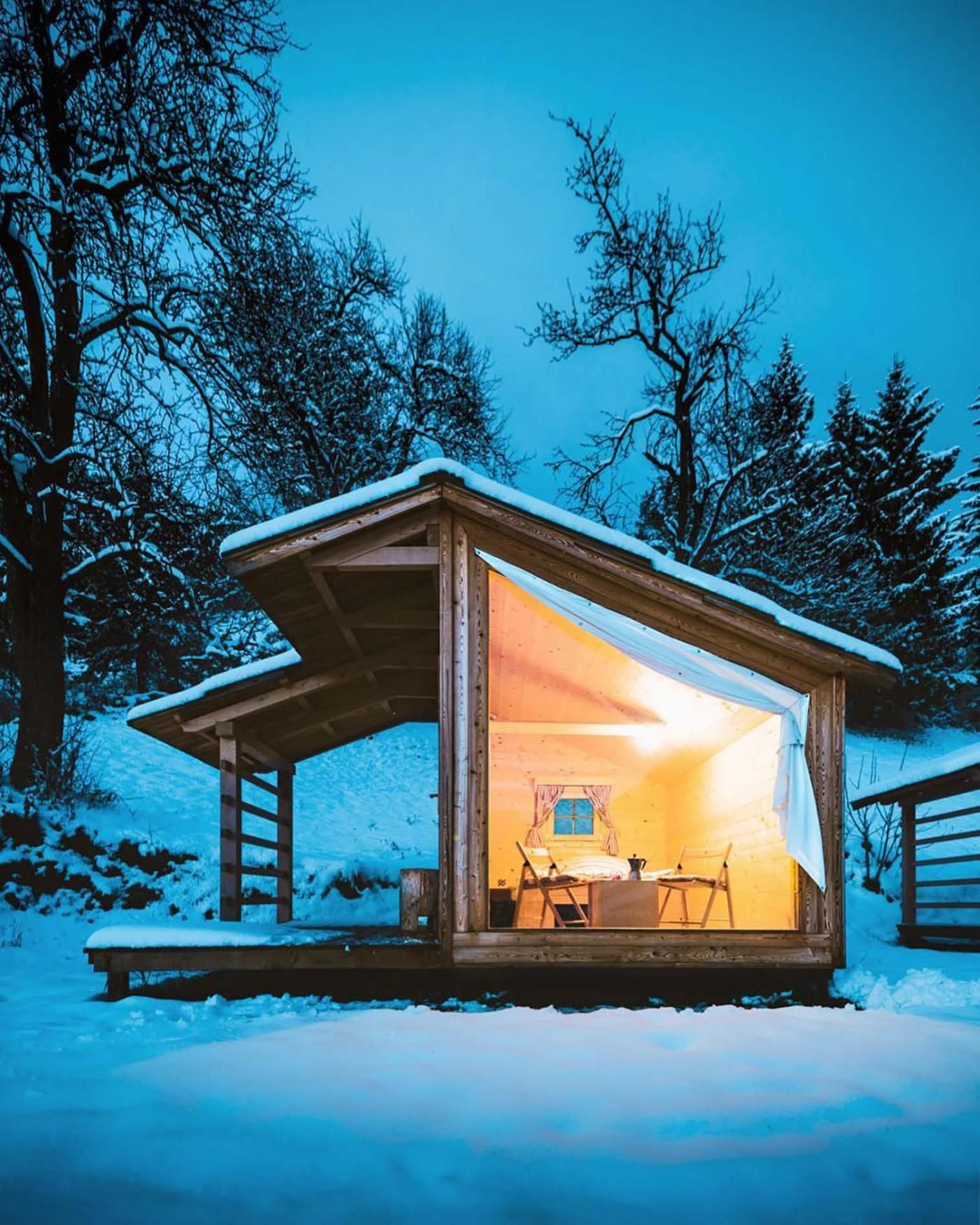 Escape To Slovenia To Enjoy Mountainside Glamping In A Glass Walled Cabin Small House Shed House Plans Tiny Cabin