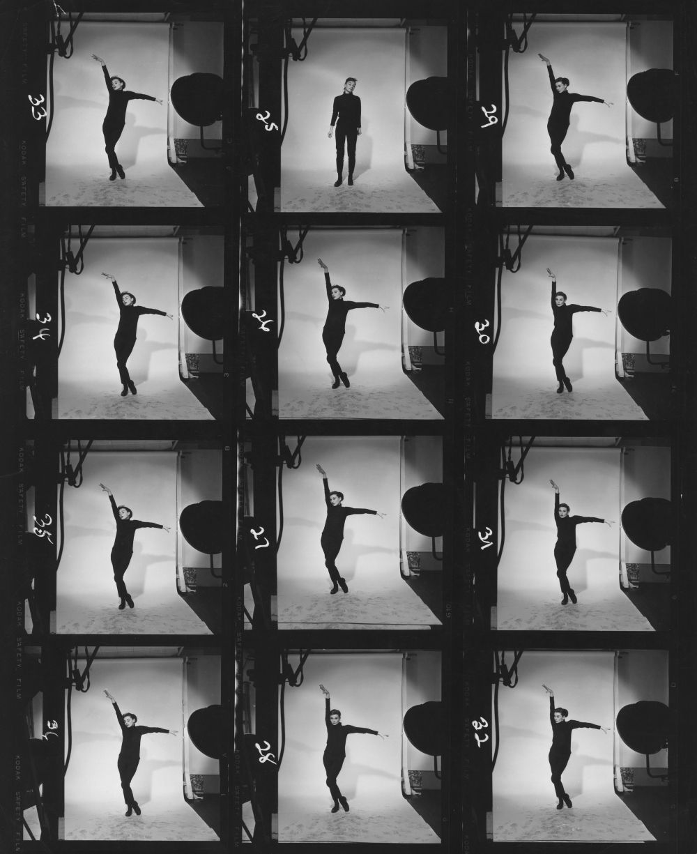 Contact print showing Hepburn dancing. Hepburn plays a Greenwich Village bookshop clerk who is discovered by style photographer Dick Avery (...