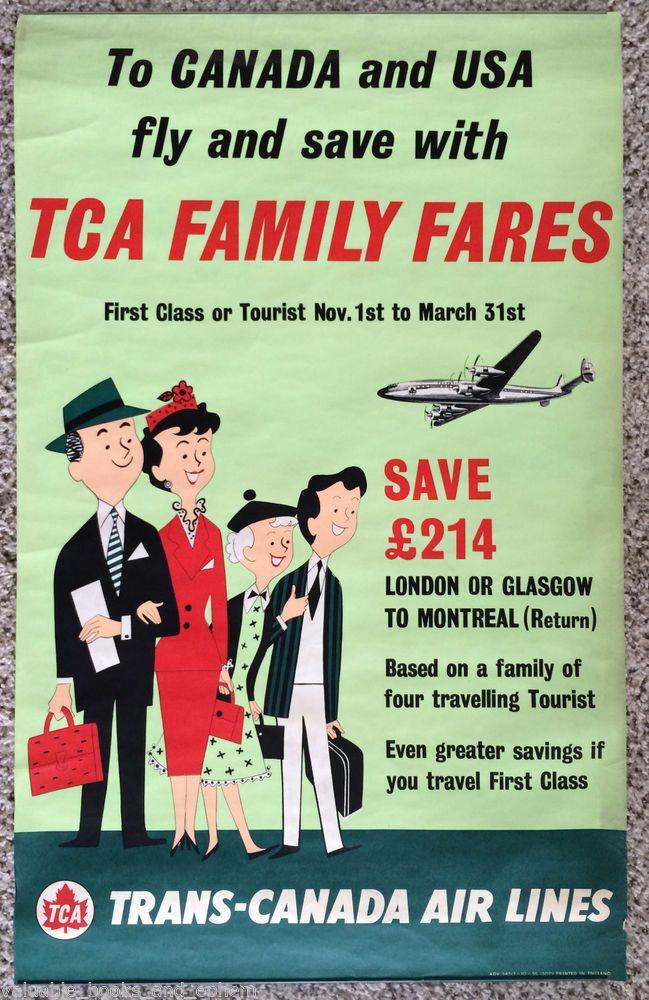 Original Travel Poster Canada '55 TCA Lockheed Constellation Vintage Airline Art #Vintage