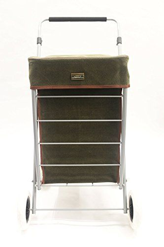 PREMIUM 4 Wheeled Shopping Trolley Lightweight Caged With Adjustable ...