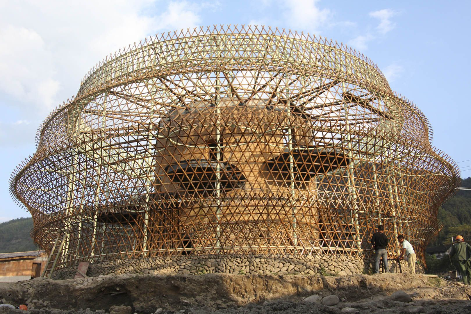 Bamboo structure the bamboo structure is suited -  Uncube A Remarkable Hostel Deep In Rural China By Anna Heringer Bamboo