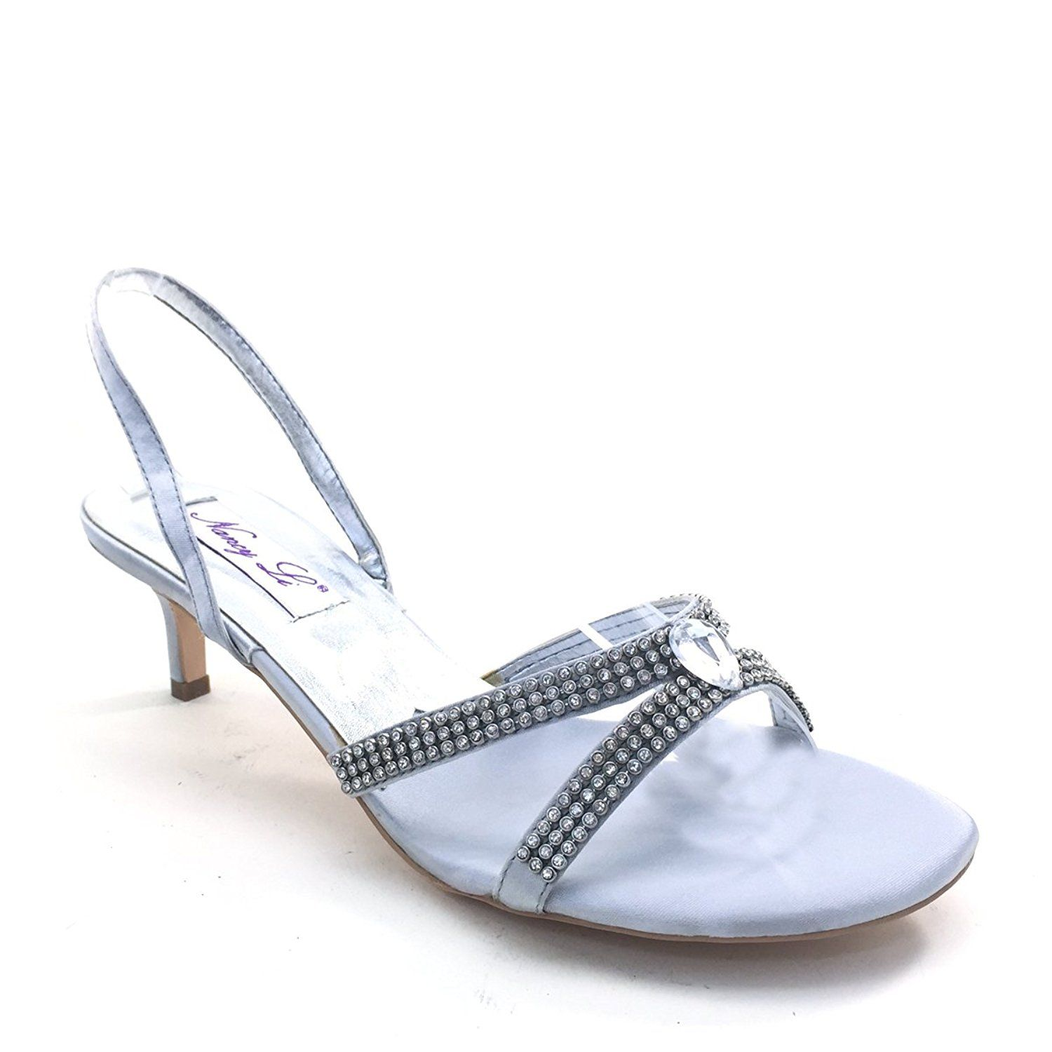 Brand New Lady Rhinestone Straps Cross Kitten Heel Slingbacks BETHANY SILVER -- Want additional info? Click on the image.