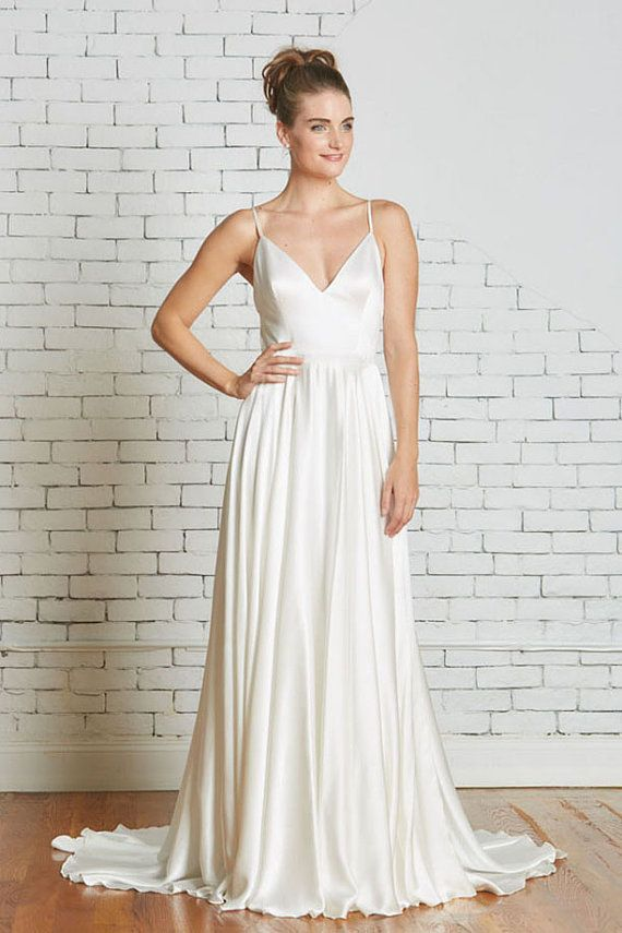 Silk Charmeuse Wedding Gown with a Strappy Low Back, Flowing Skirt ...