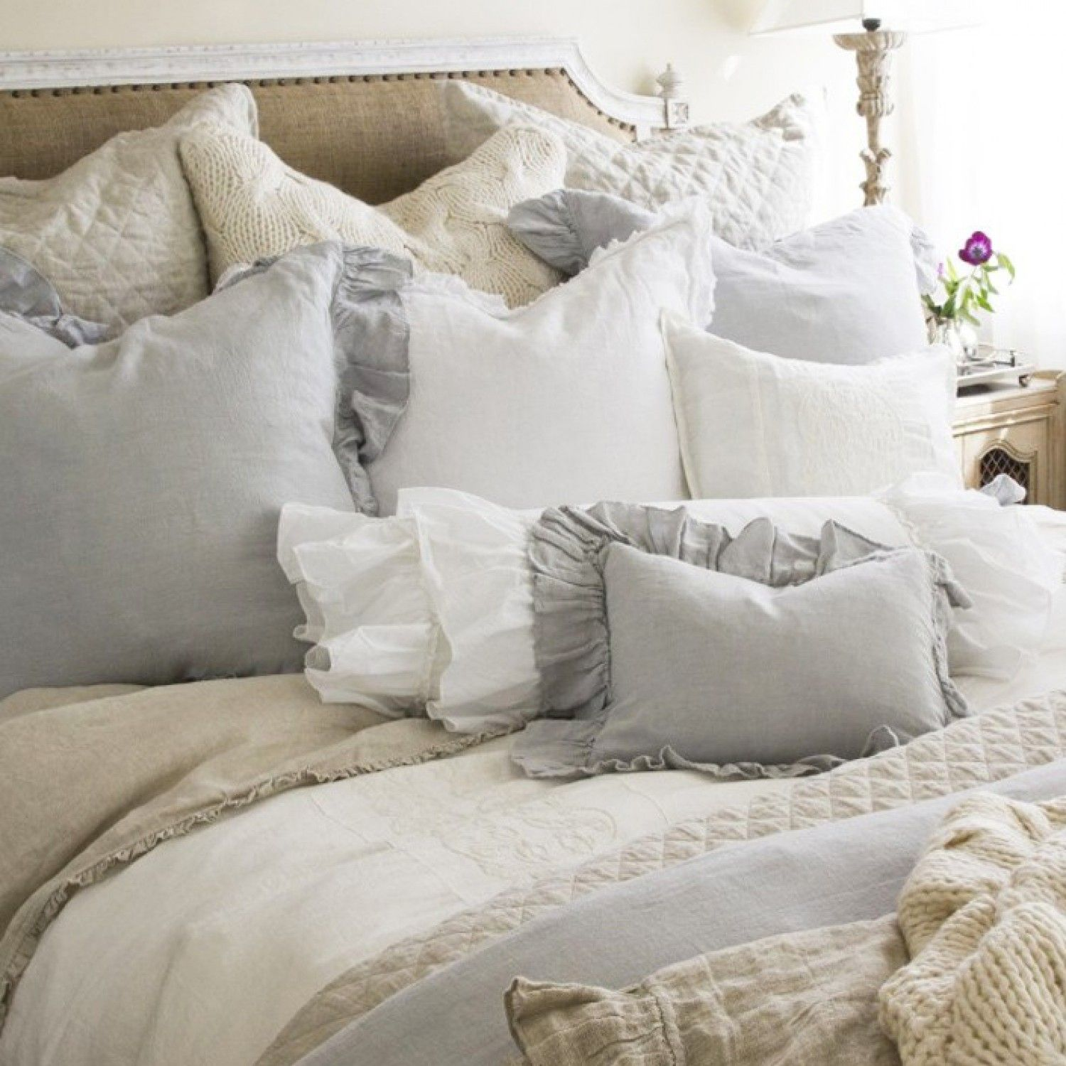 Shabby chic cottage pom pom at home ruffled charlie duvet for Shabby chic bedspreads comforters