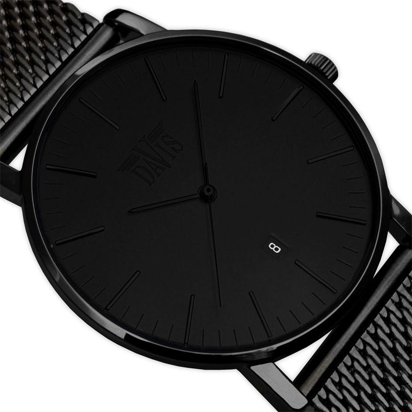 pas mal ab01e fa237 Montre Design Extra Plate Noire Classique Unisexe Bracelet ...