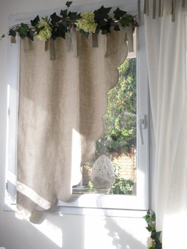 cantonnière modèle festons chic lin beige 75x100cm  tende