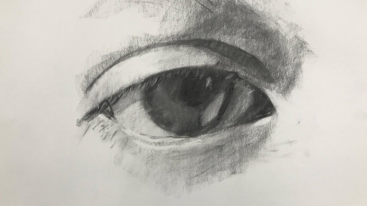 Charcoal Drawing Of An Eye For Beginners Step By Step Youtube Charcoal Drawing Tutorial Charcoal Drawing Eye Drawing
