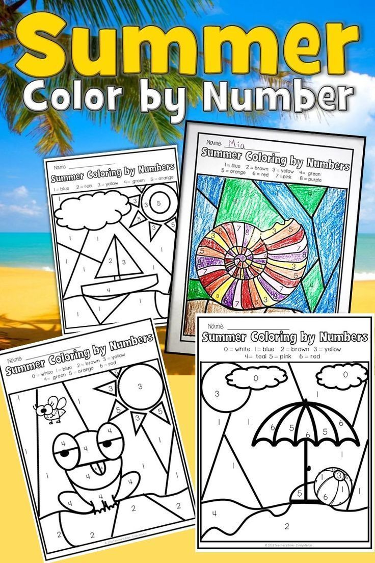 Summer Coloring Pages   Color by Number   Summer coloring ...