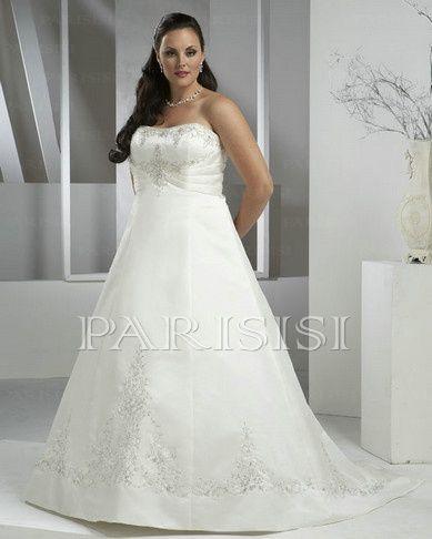 Plus Size Wedding Dress Satin Ivory Strapless Long Zippered-Back A ...
