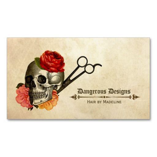 Skull Vintage Floral Hairstylist Hair Stylist Business Card