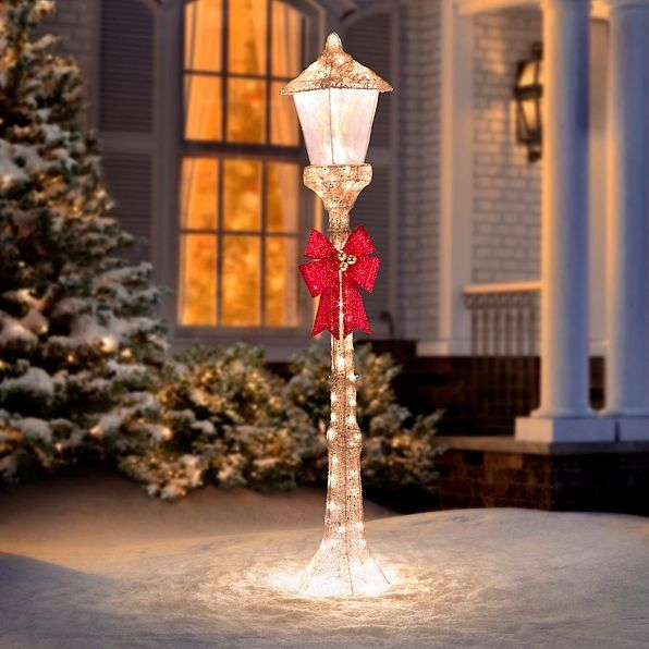Bring to mind christmases of yore with a 5 ft golden lamppost 5 golden lamppost lighted outdoor christmas decoration improvements aloadofball Gallery
