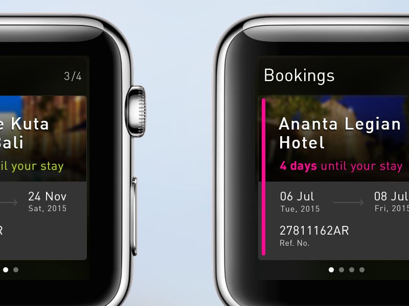 An app for Watch to check your booked hotels. The app should be very simple, just for the users to 'glance' at their booked items.