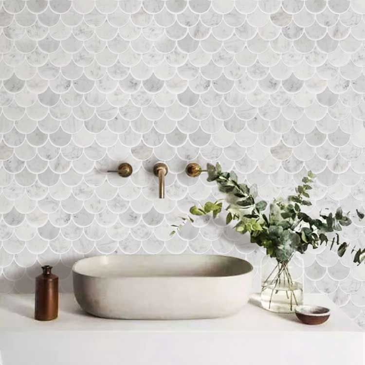 Photo of Scallop Shell Mermaid Tile Marble Stone Mosaic Tile Kitchen Backsplash Bath Wall and Floor Carrara White