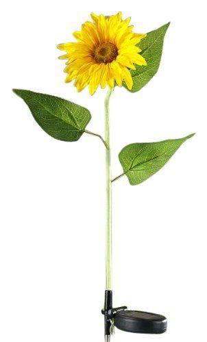 Gift Craft 27.6 Inch 12 Piece Metal Sunflower Design Solar Garden Stake  With Displayer
