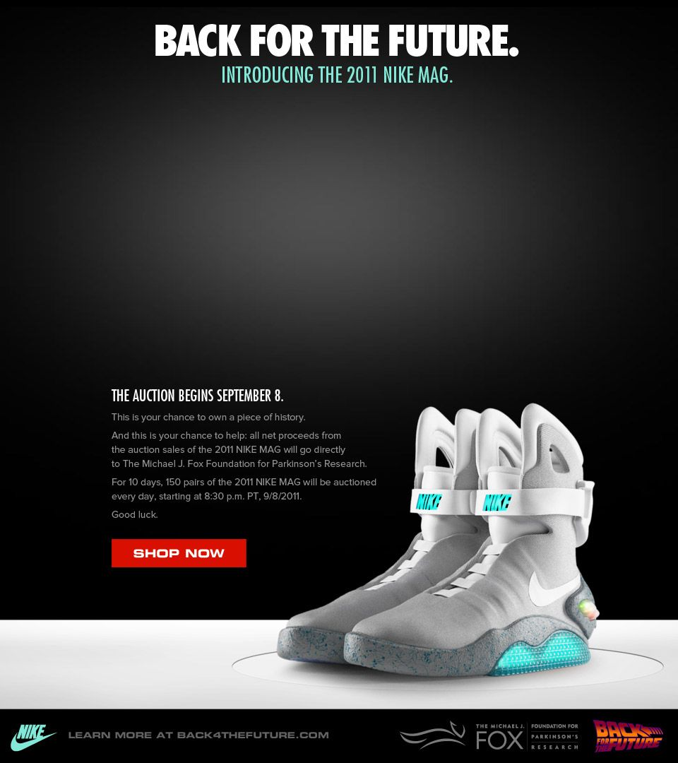 f5849fd653d I don t want these. But this is awesome. Nike made 1500 pairs of the Nikes  from Back To The Future and are auctioning them off. All proceeds go to  Michael ...