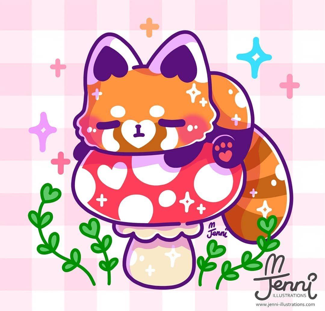J E N N I On Instagram I Think Red Pandas Are Cute Spot Some Hidden Hearts As Always Cute Drawings Red Panda Cute Cartoon Drawings