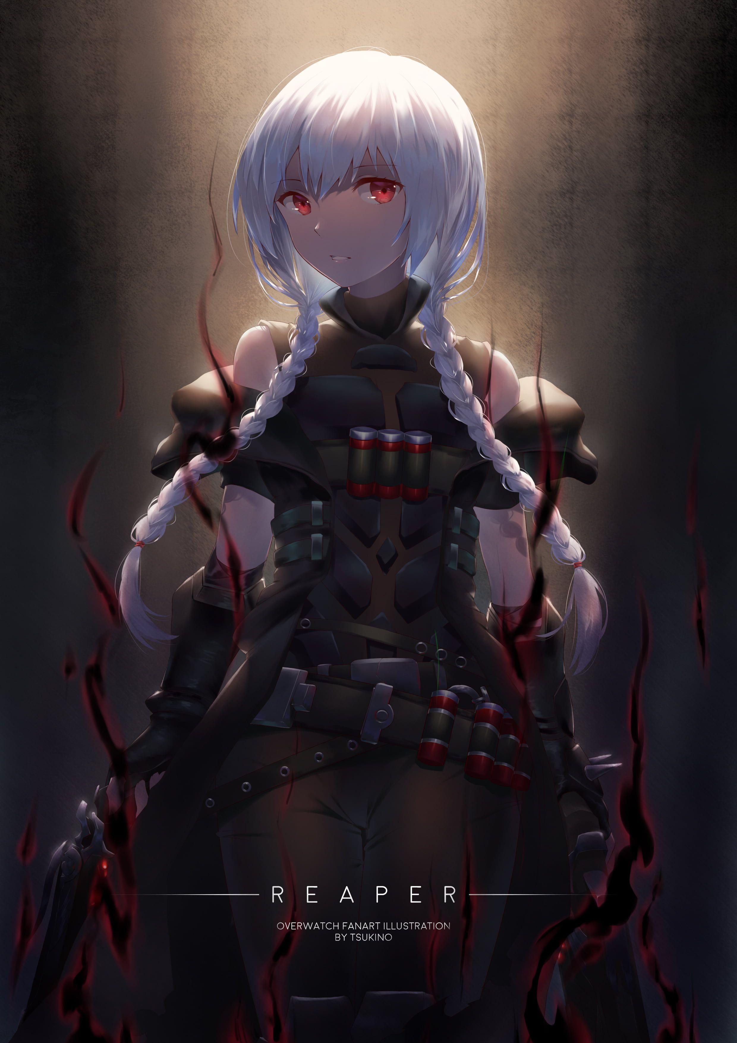 white haired female anime character artwork digital art women ...