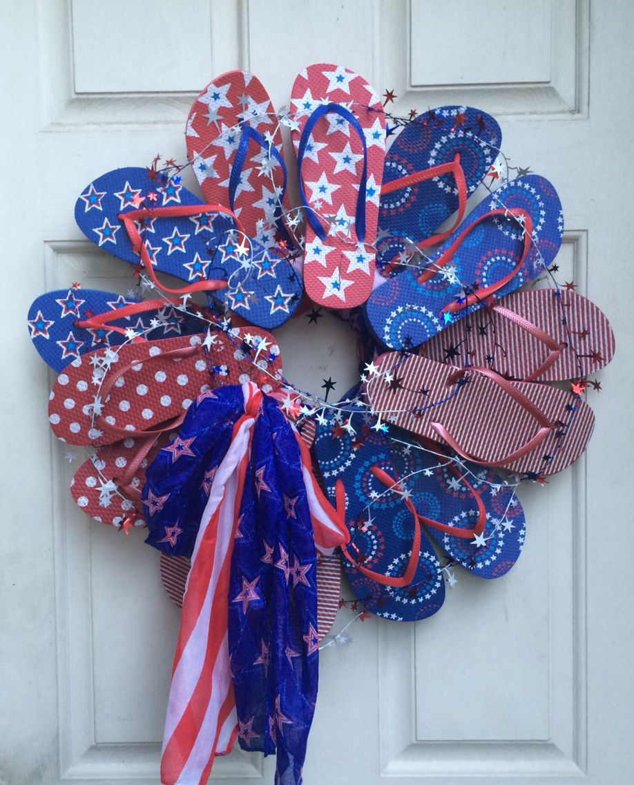 Patriotic Flip Flop Wreath Made With Supplies From Dollar Tree Flip Flop Wreaths How To Make
