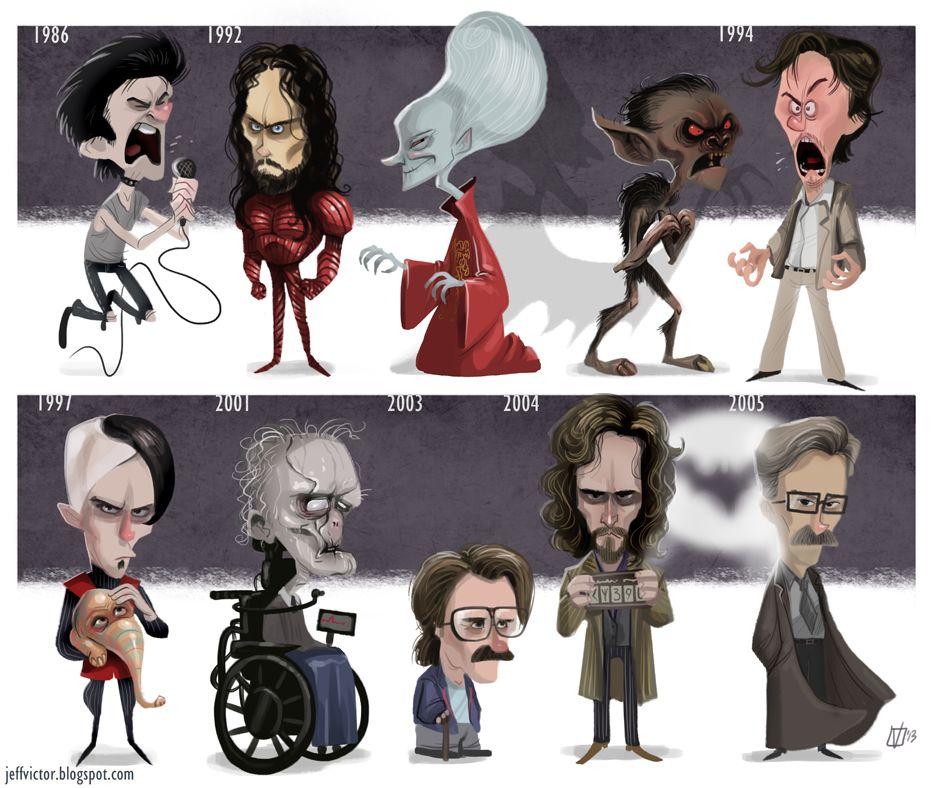 Cartoon Style Evolution of Gary Oldman Characters.  Love Oldman as an actor.