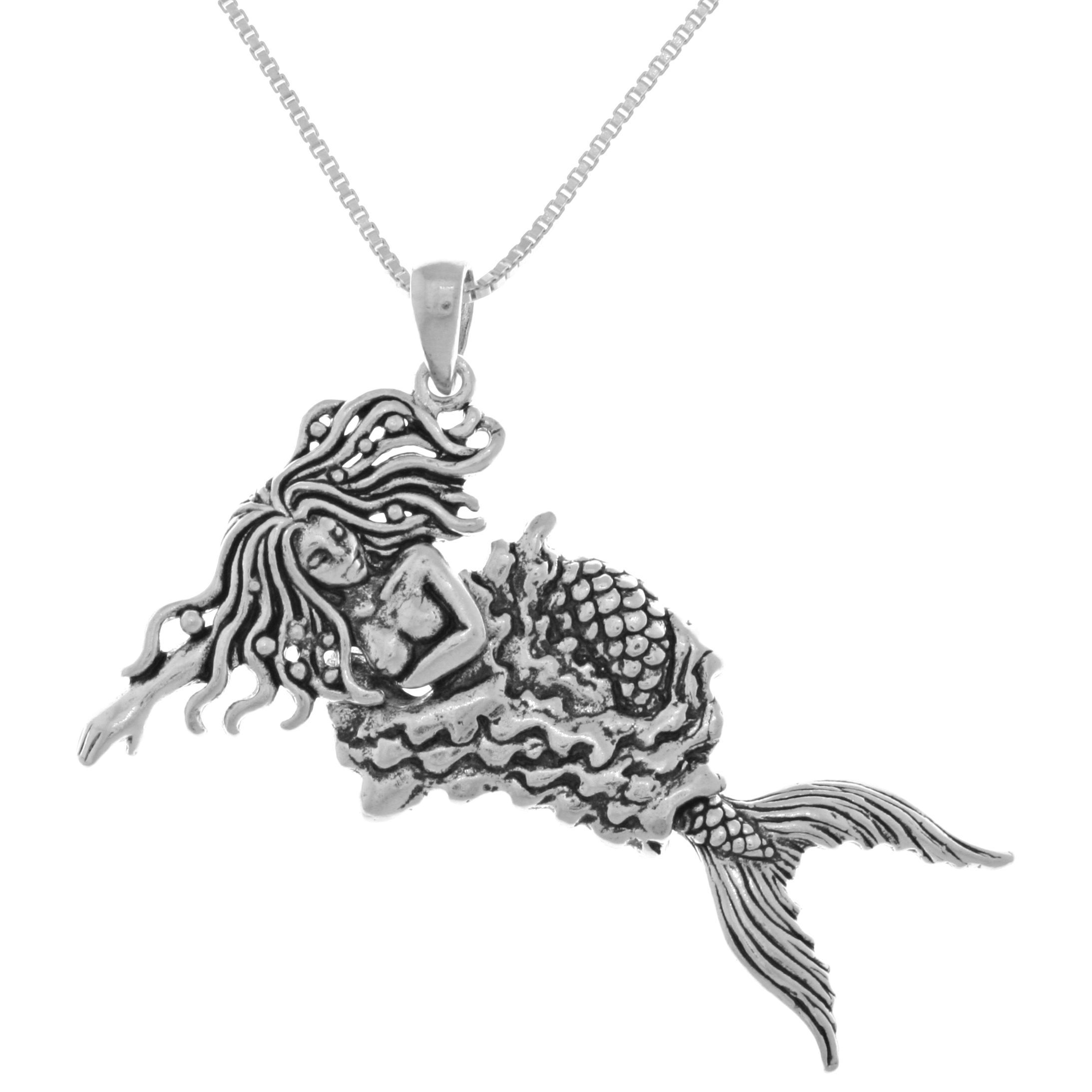 Jewelry Trends Sterling Silver Moveable Swimming Mermaid Pendant
