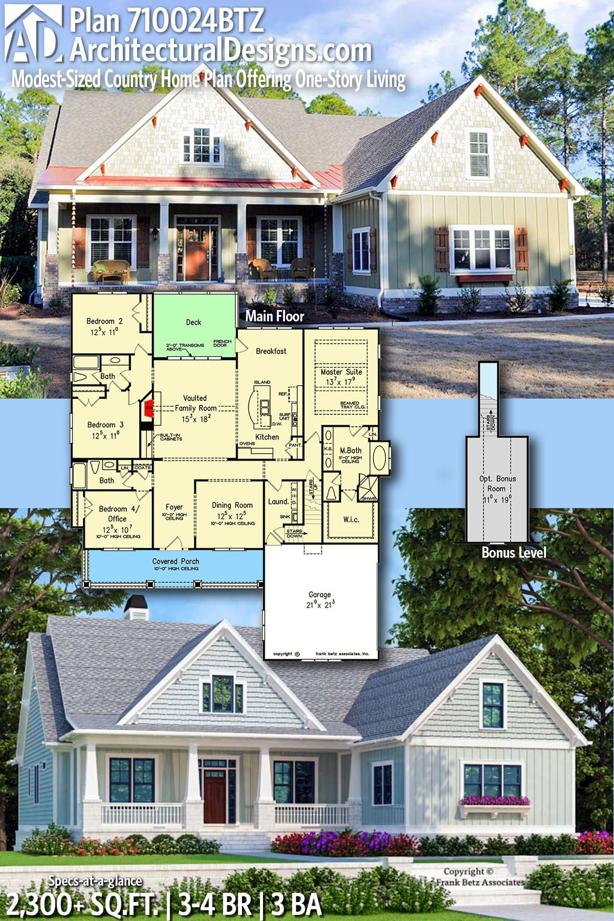 Plan 710024btz Modest Sized Country Home Plan Offering One Story