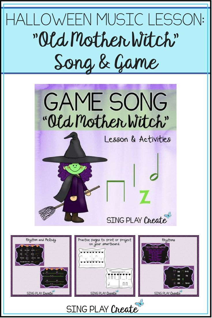"halloween music lesson: ""old mother witch"" song & game 