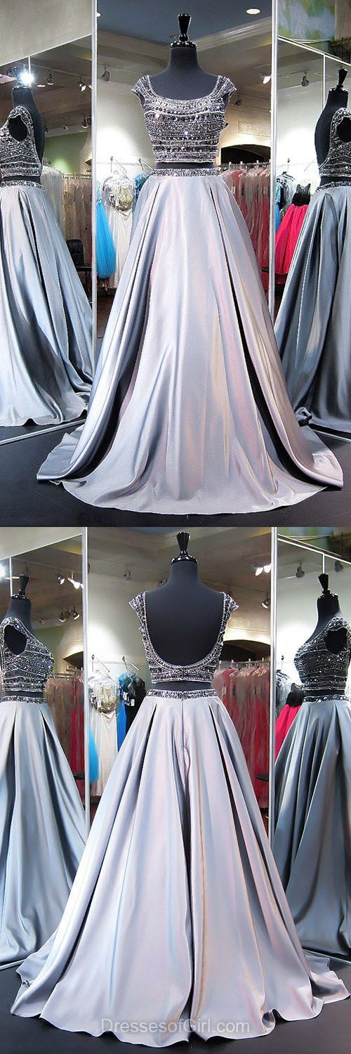 Siliver Homecoming Dresses, Princess Formal Dresses, Scoop Neck Satin Party Dresses, Beading Two Piece Homecoming Dresses, Boutique Backless Prom Dresses, Long Evening Dresses