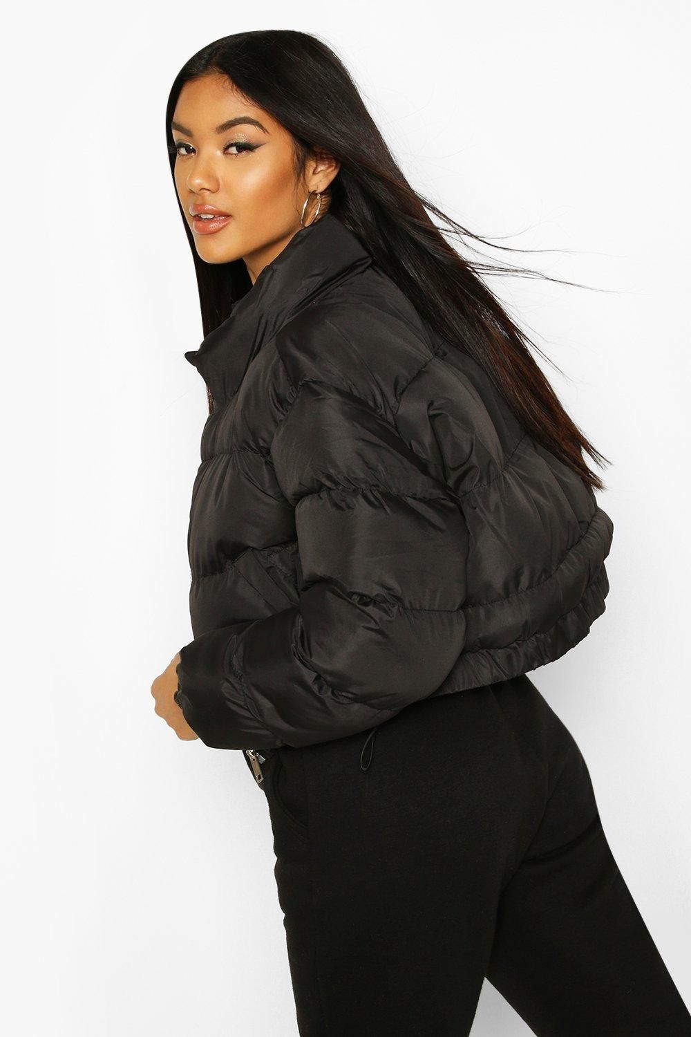 Womens Cropped Puffer Jacket - Black - 10