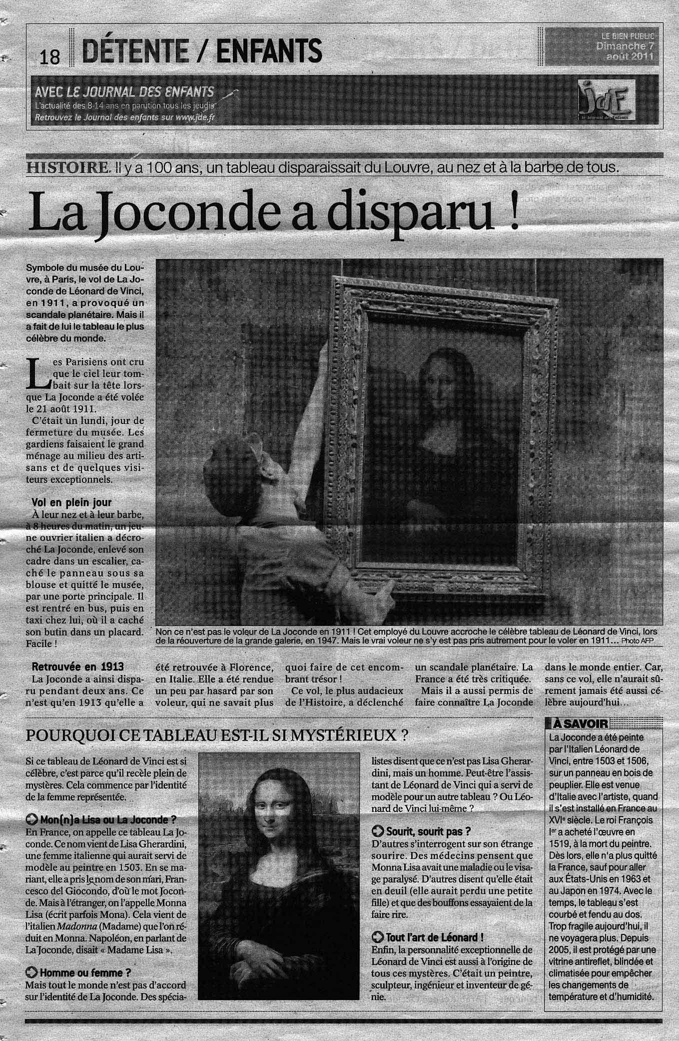 Le Vol De La Joconde Dans La Presse La Joconde Collage Recherche Google