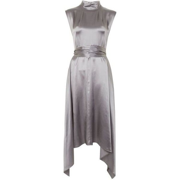Silk Satin Hanky Hem Dress by Boutique (7,065 DOP) ❤ liked on Polyvore featuring dresses, silk satin dress, asymmetrical hem dress, topshop dresses and tie dress